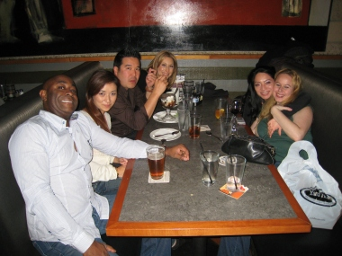 With a bunch of friends at the Costa Mesa Yardhouse in California