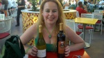 Me with our wines be brought from home at Uva Bar in Downtown Disney. No corkage baby!!