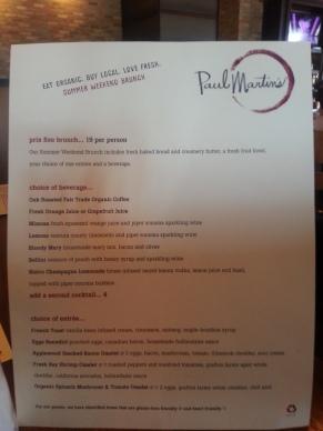 Summer weekend brunch menu