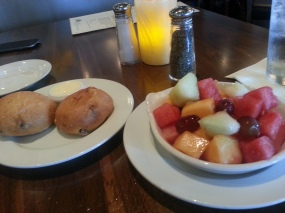 Yummy Sadie Rose bread and fresh fruit