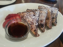 French Toast with vanilla bean infused cream,cinnamon, nutmeg, maple-bourbon syrup