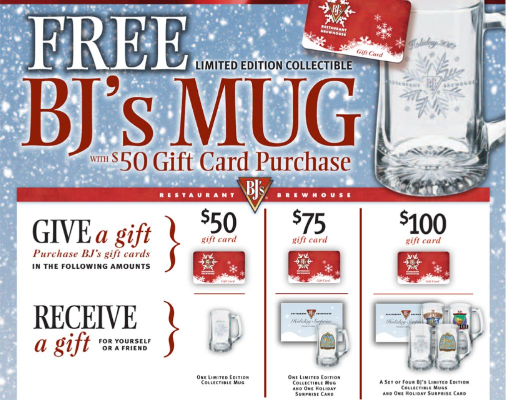 bj s restaurant gift card holiday gift card freebies dani s decadent deals 4516