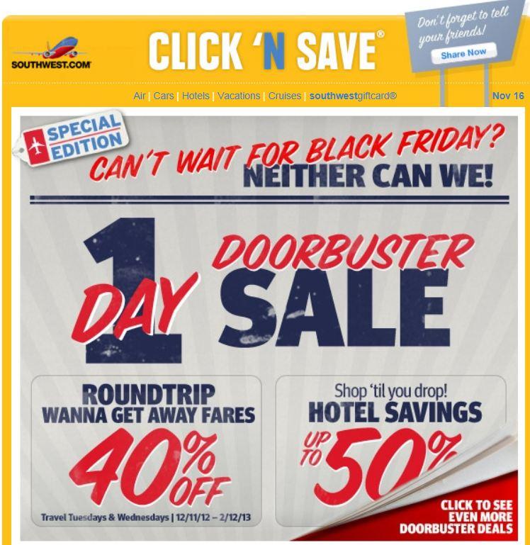 Southwest airlines black friday deals 2018
