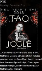 Tao NYE with J. Cole