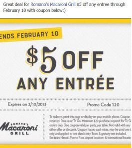 Macaroni Grill Deal