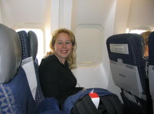 Dani in airplane on way to Italy