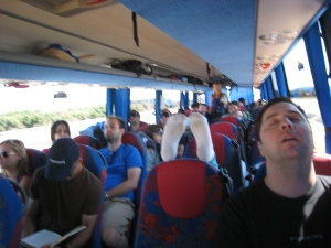Nice - alssep on bus from Nice to Barcelona