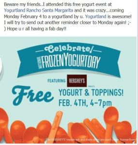 Yogurtland National Frozen Yogurt Day