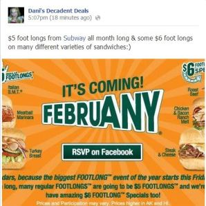 Subway - $5 Subs through end of February