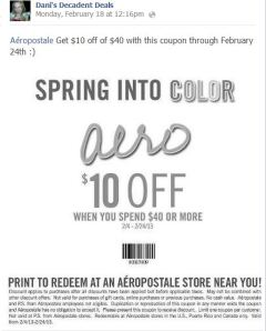 Aeropostale $10 off of $40 through 2-24-13