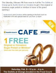 Auntie Annie's &  Cinnabon free pretzel or minibon Grand Opening Outlets of Orange