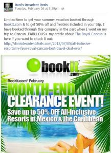 Bookit.com All-Inclusive Deals and my article about Cancun
