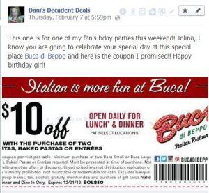 Bucca Di Beppo $10 off 2 entrees through 12-31-13