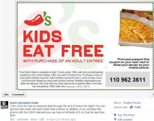 Chili's Free kids meals with adult entree thru 2-21-13