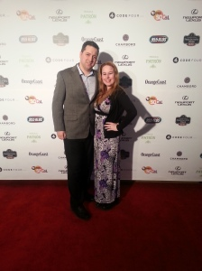 Entering the launch party with my love