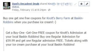 Knott's Berry Farm tickets, buy one, get one free through February 28