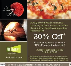 Luna Rossa District Tustin 30% off through 2-28-13