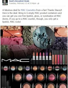 MAC Makeup deal freebies at counter or store