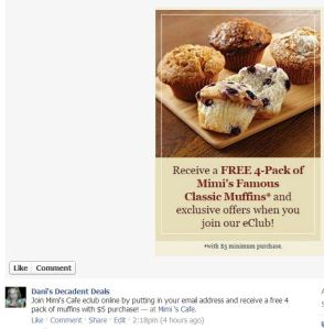 Mimi's E-club 4 free muffins