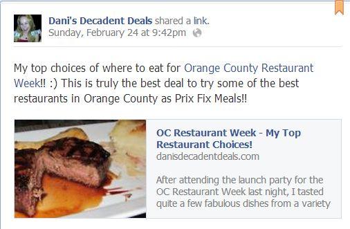 Orange County Restaurant Week Where to Eat Feb 24  Mar 2Dani s Top Deals of the Week 2 27 13   Dani s Decadent Deals. Orange County Dining Deals. Home Design Ideas