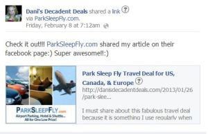 Park sleep fly article shared on their facebook page
