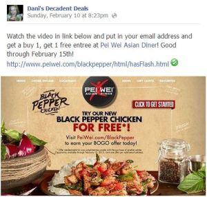 Pei Wei FREE Black Pepper Chicken through 2-15-13