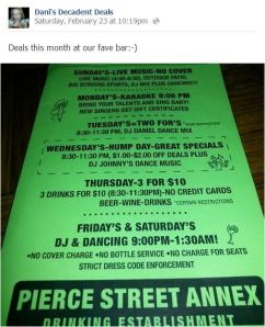 Pierce Street Annex Weekly Specials for February 2013
