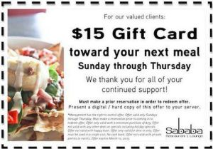 Sababa $15 off through March 10
