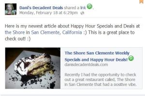 Shore San Clemente Happy Hour Specials