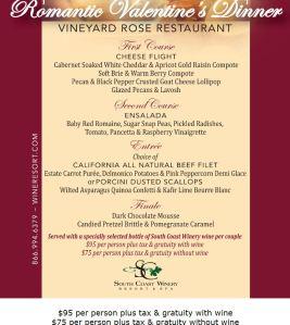 south coast winery dinner