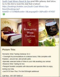 South Coast Winery Resort & Spa Romantic Getaway Package