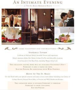 St. Regis Valentine's Day Dinner Options
