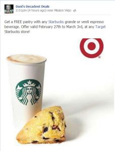 Starbucks Target - FREE pastry with grande or venti espresso drink through March 3rd