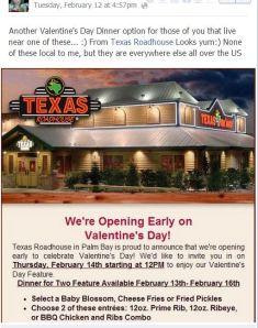 Texas Roadhouse Valentine's Day meal through 2-16-13