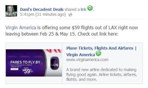 Virgin America $59 one way fares from LAX