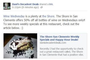 Wine Wednesdays at The Shore San Clemente & other weekly deals