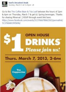 $1 drinks at Coffee Bean & Tea Leaf March 7 only 2-6
