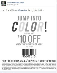 $10 off $50 Aeropostale through March 17