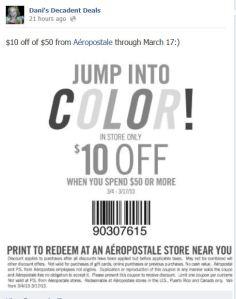 $10 off $50 Aeropostale through March 17