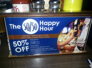 Slater's 50/50 Happy Hour Menu