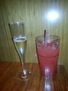 Grand opening champagne & yummy strawberry lemonade