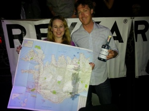 Dani & Clarke from Reyka Distillery-Iceland with a map of the country