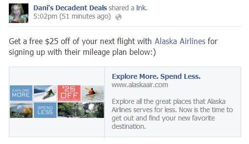 Alaska Airlines - FREE $25