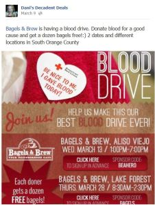 Bagels & Brew Blood Drive March 28 Free Bagels