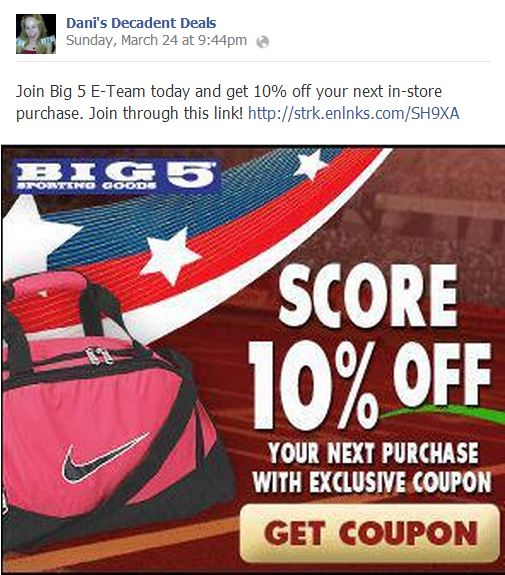 Big5 10% off COupon