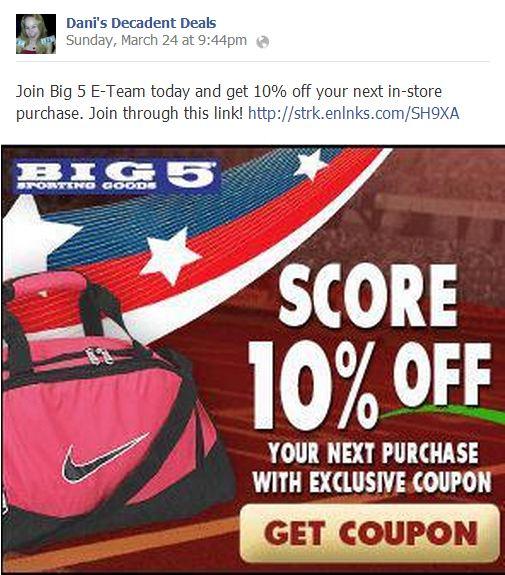Big5 10% off COupon