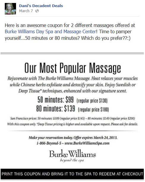 Burke williams coupon codes