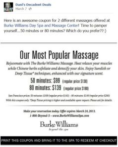 Burke WIlliams Massage Coupon through March 24