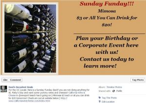 California Wine & Cheese Sunday Funday $3 Mimosa or $20 All-You-Can-Drink