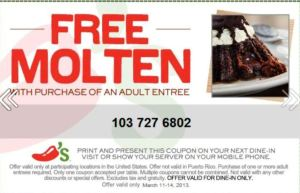 Chili's Free Molten Cake through March 14th